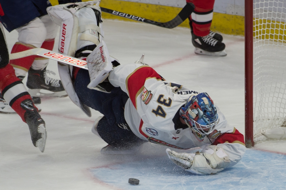 Florida Panthers  goalie James Reimer (34) makes a save against Ottawa Senators right wing Mark Stone (not pictured) in the third period at the Canadian Tire Centre. — Reuters