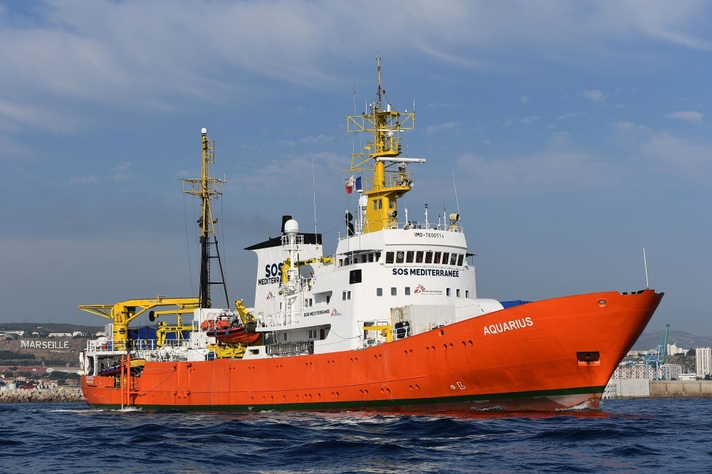 The rescue ship Aquarius, chartered by French aid group SOS Mediterranee and Doctors Without Borders (MSF), leaves the harbor of Marseille, southeastern France, after having been docked for a month for maintenance work in this Aug. 1, 2018 file photo. — AFP