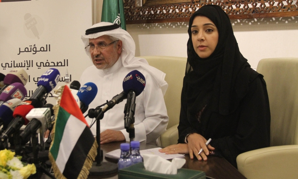 Abdullah Al-Rabeeah, Supervisor General of the King Salman Humanitarian Aid and Relief Center (KSRelief), and Reem Al-Hashimi, UAE's Minister of State for International Cooperation, announcing a $500 million initiative to address the humanitarian situation in Yemen at a press conference in Riyadh on Tuesday. — Okaz photo