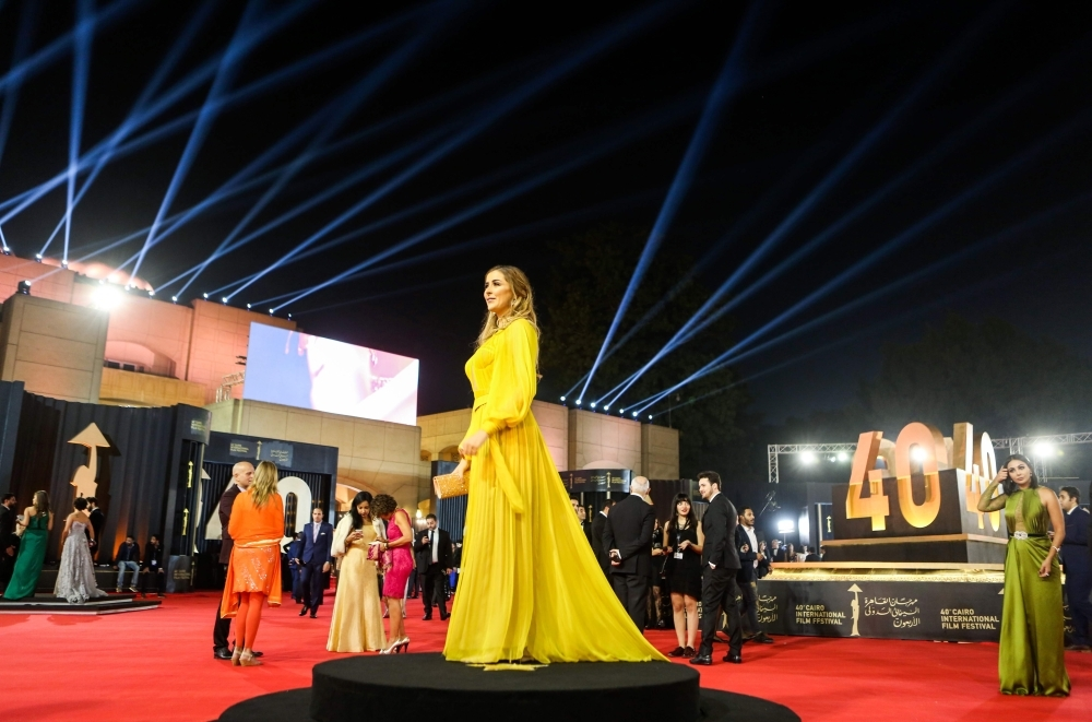 Tunisian actress Aicha Ben Ahmed poses on the red carpet of the 40th edition of the Cairo International Film Festival (CIFF) at the Cairo Opera House in the Egyptian capital. — AFP