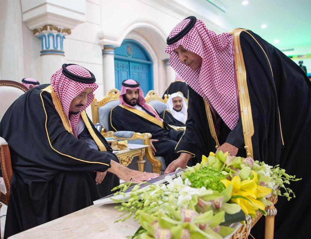 Custodian of the Two Holy Mosques King Salman lays the cornerstone for the new Al-Jouf and Qurayyat airports during his visit to the region