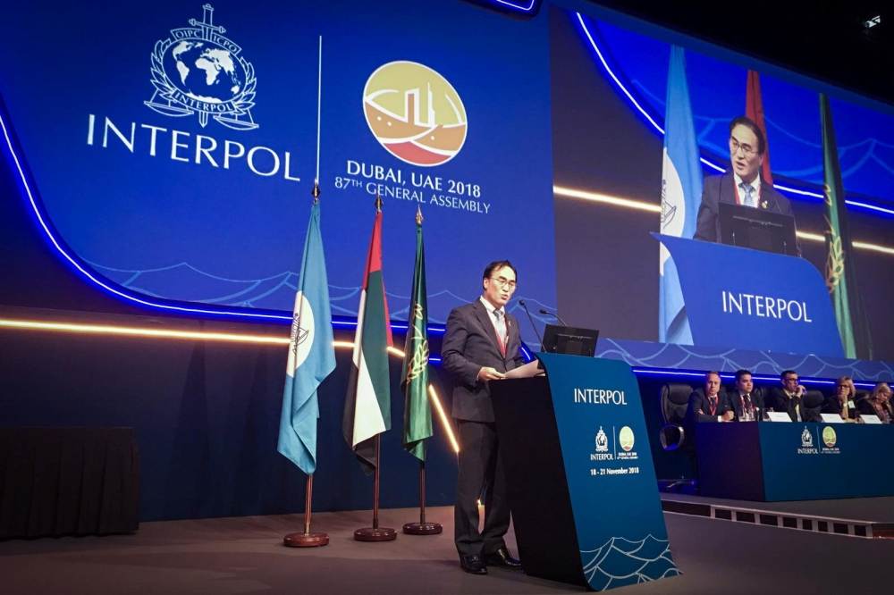 Kim Jong-yang of South Korea, the new president of International police body Interpol talks during the 87th General Assembly in Dubai, UAE, on Wednesday. — Reuters