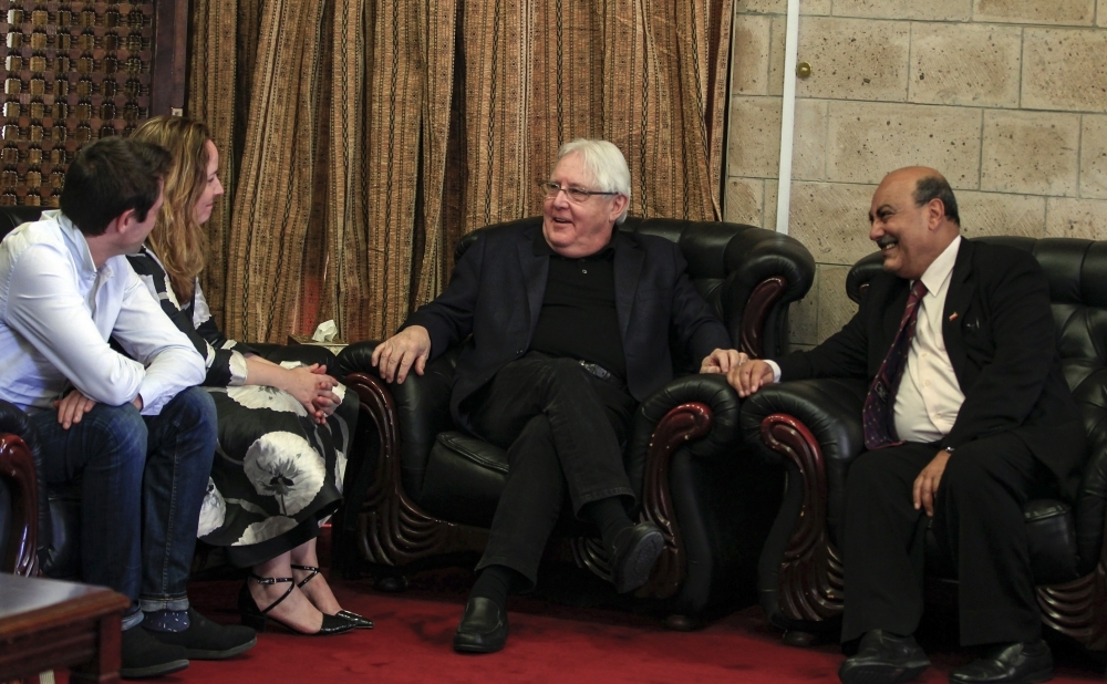 Martin Griffiths (C), the UN special envoy for Yemen, arrives at Sanaa international airport on Wednesday. — AFP