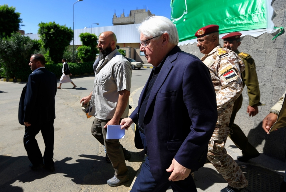 UN envoy to Yemen Martin Griffiths (C) leaves after a meeting rebel Houthi leaders in the capital Sanaa on Saturday.  — AFP