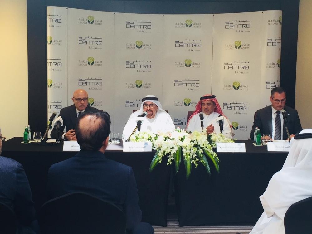 From left: Rotana's Vice Chairman Selim El Zyr, Rotana's Chairman Nasser Al Nowais, Eng Abdulelah Al Khereiji, chairman of Elegant Hotels, and Tom Stevens, Area Vice President, Rotana Saudi Arabia.