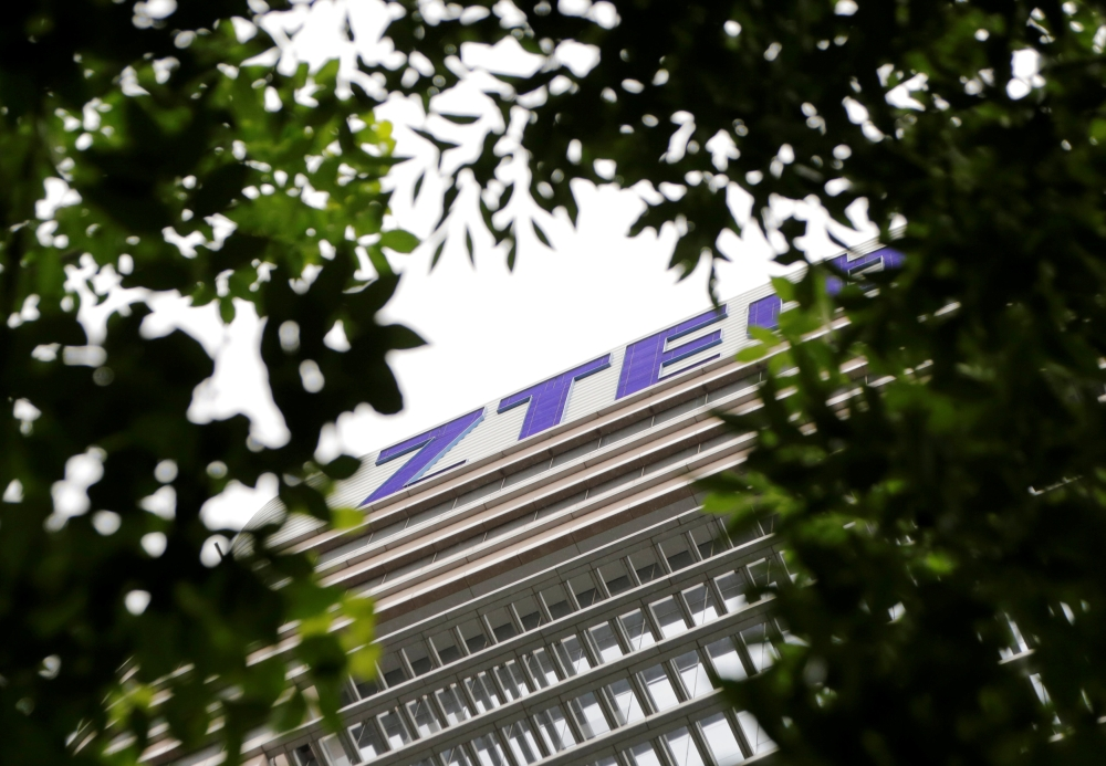 The logo of China's ZTE Corp is seen on the building of ZTE Beijing research and development center in Beijing, China, in this recent photo. — Reuters