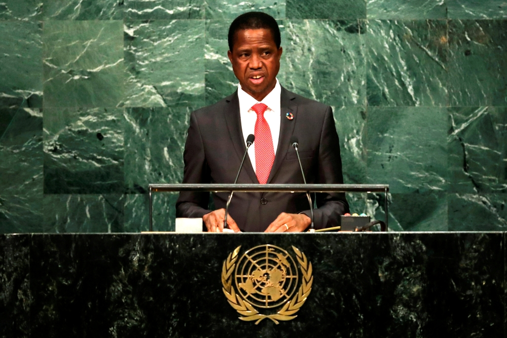 Zambia's President Edgar Chagwa Lungu addresses the United Nations General Assembly in the Manhattan borough of New York, US, in this file photo. — Reuters