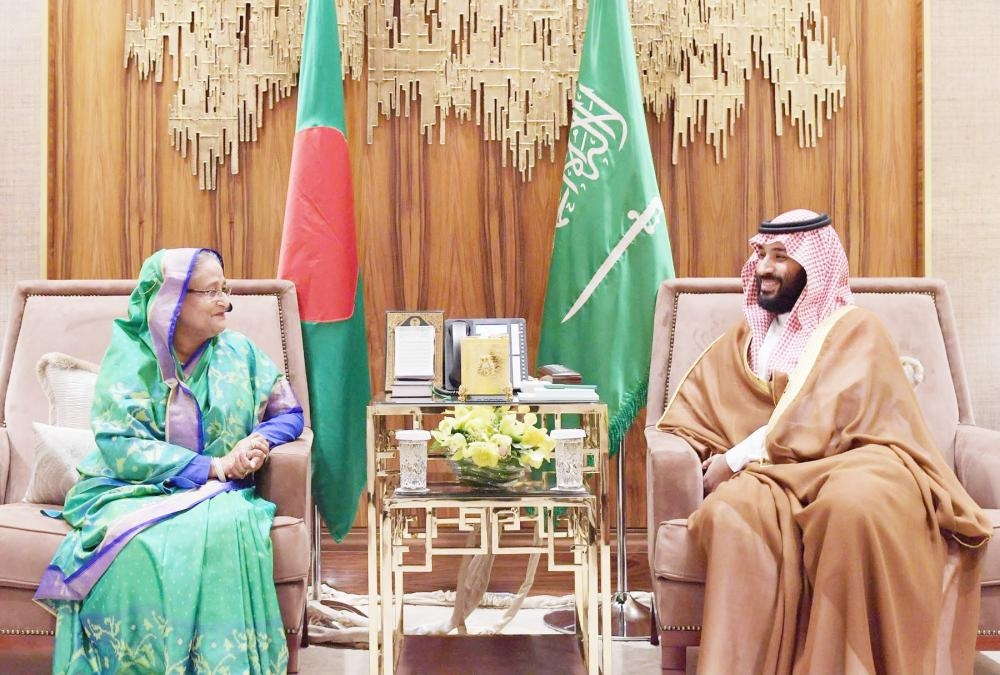 Crown Prince Muhammad Bin Salman, deputy premier and minister of defense, with Bangladesh Prime Minister Sheikh Hasina during her visit to the Kingdom in October.
