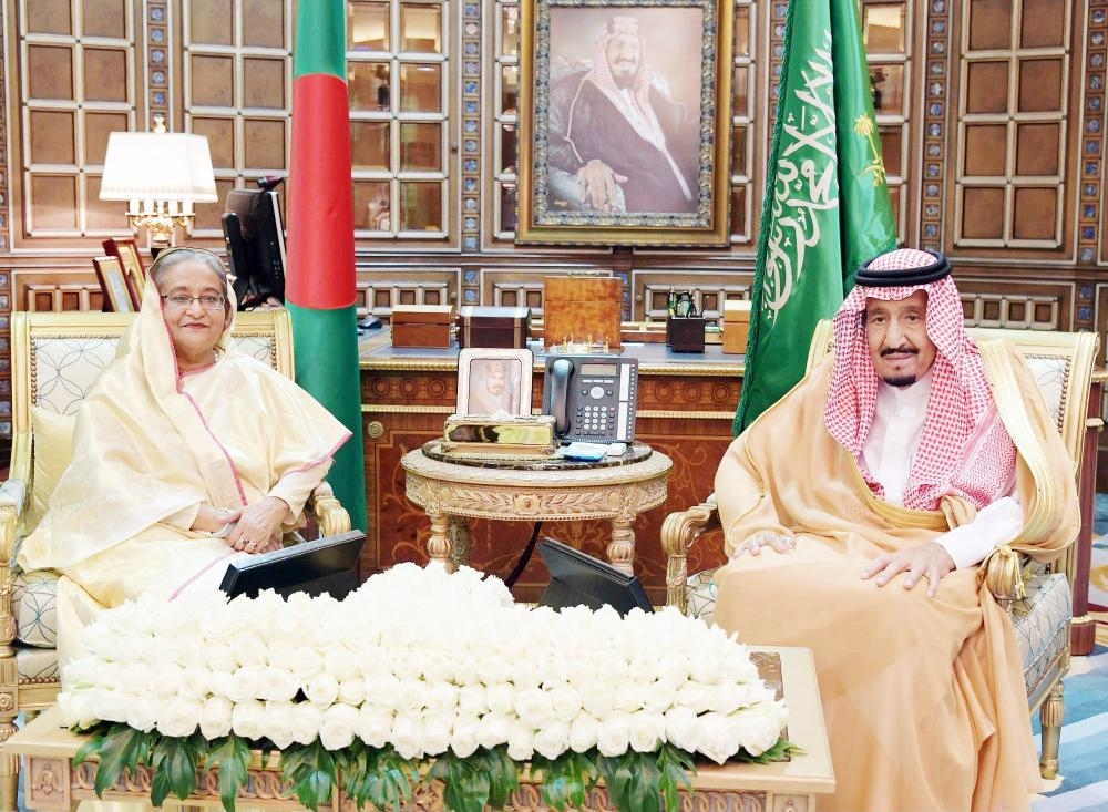 Custodian of the Two Holy Mosques King Salman with Bangladesh Prime Minister Sheikh Hasina during her visit to the Kingdom in October. — Courtesy photos