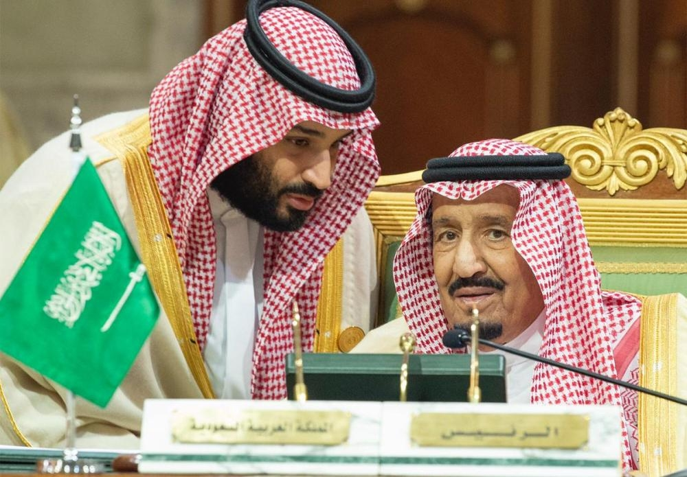 Custodian of the Two Holy Mosques King Salman listens to Crown Prince Muhammad Bin Salman, deputy premier and minister of defense, during the opening of the 39th session of the GCC summit in Riyadh on Sunday. — SPA
