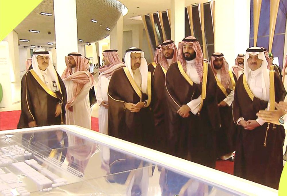 Crown Prince Muhammad Bin Salman, deputy premier and minister of defense, arrives to inaugurate the King Salman Energy Park in the Eastern Province on Monday. — SPA