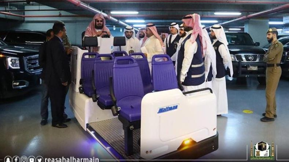 Head of the Presidency for the Affairs of the Two Holy Mosques Sheikh Abdulrahman Al-Sudais inaugurates the electric cars project in Makkah.