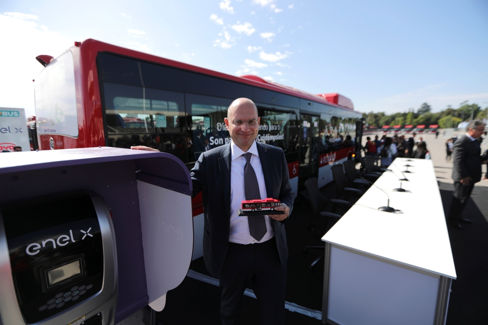 Alberto Piglia, head of e-mobility global of Enel poses for a picture as Chile's government launches the new fleet of electric buses for public transport in Santiago, Chile. — Reuters