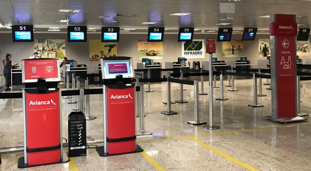 Empty check-in desk of Avianca airlines is seen at Afonso Pena International Airport in Sao Jose dos Pinhais, Brazil on Thursday. — Reuters