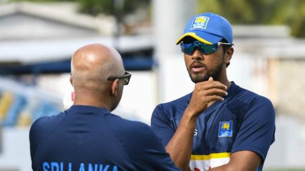Sri Lanka captain Dinesh Chandimal seen with the team's coach in this file photo.