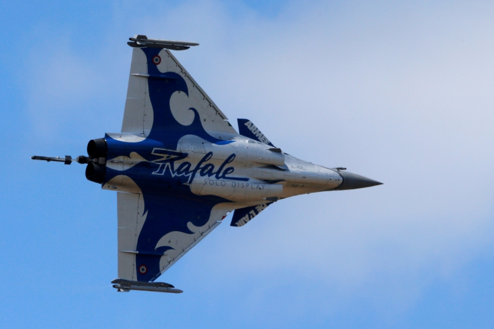 A Dassault Rafale fighter takes part in flying display during the 52nd Paris Air Show at Le Bourget Airport near Paris in this June 25, 2017 file photo. — Reuters