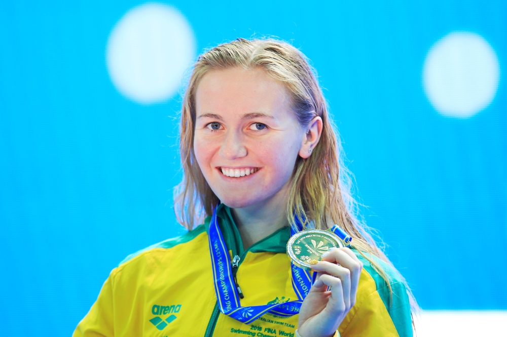 Ariarne Titmus of Australia poses for a photograph with her gold medal after winning the Women 400m freestyle finals at the 14th FINA World Swimming Championships in Hangzhou in China's eastern Zhejiang province on Friday. — Reuters