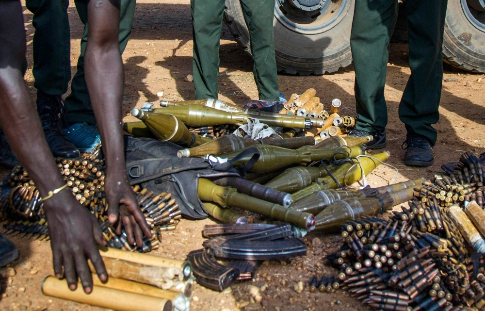Rebel troops of the Sudan People's Liberation Army in Opposition (SPLA-IO) unload their weapons at their military site in Juba in this April 25, 2016 file photo. — AFP