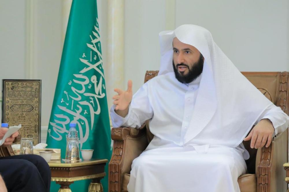 Justice Minister Waleed Al-Samaani speaks during the TV interview.