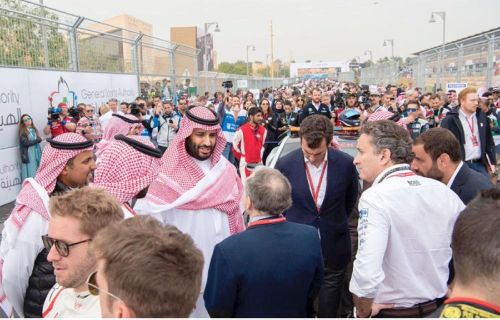 Crown Prince Muhammad Bin Salman, deputy premier and minister of defense, attends the finale of the Ad Diriyah E-Prix championship race on the outskirts of Riyadh on Saturday. — SPA