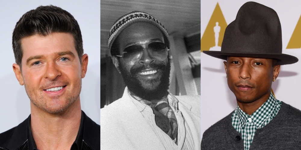 A combination of file photos shows (From L) US-Canadian singer Robin Thicke, US singer Marvin Gaye, and US recording artist Pharrell Williams.  A long-running copyright dispute over the smash hit