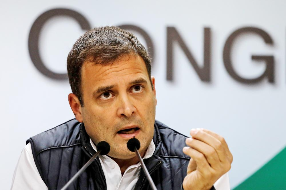 Rahul Gandhi, President of India's main opposition Congress party, speaks during a news conference at his party's headquarters in New Delhi, India, in this Dec. 11, 2018 file photo. — Reuters