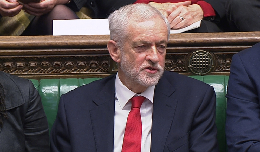 Jeremy Corbyn, the leader of the Labour Party, reacts during Prime Minister's Questions in the House of Commons, London, Britain, on Wednesday. — Reuters