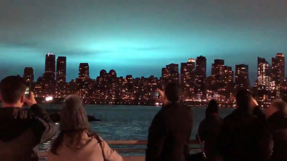 Transformer explosion in New York City lights up night sky