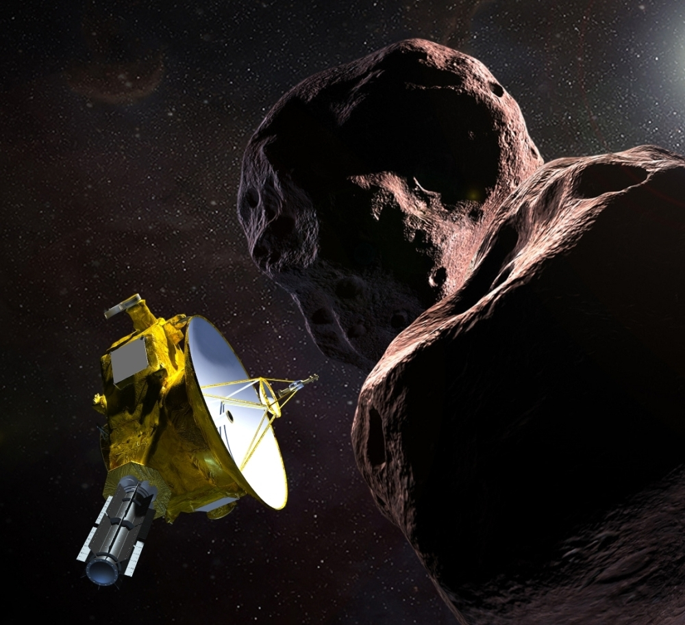 "This artist's illustration obtained from NASA on Dec. 21, 2018 shows the New Horizons spacecraft encountering 2014 MU69 – nicknamed ""Ultima Thule"" – a Kuiper Belt object that orbits one billion miles beyond Pluto. — AFP"