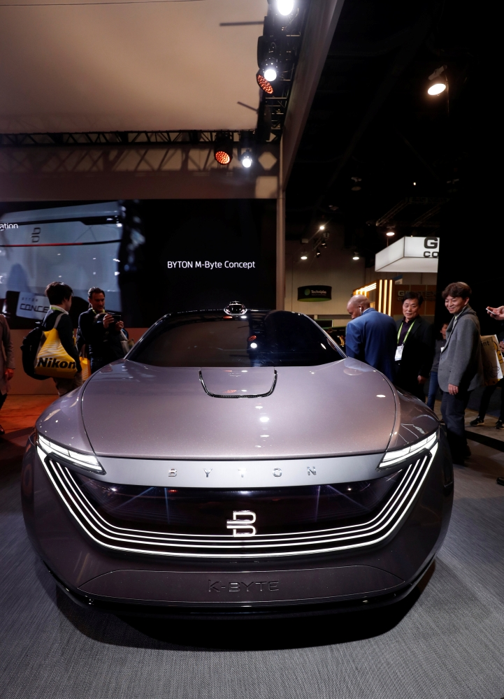 The Byton K-Byte, an electric, autonomous-driving concept car, is displayed during the 2019 CES in Las Vegas, Nevada, on Tuesday. — Reuters
