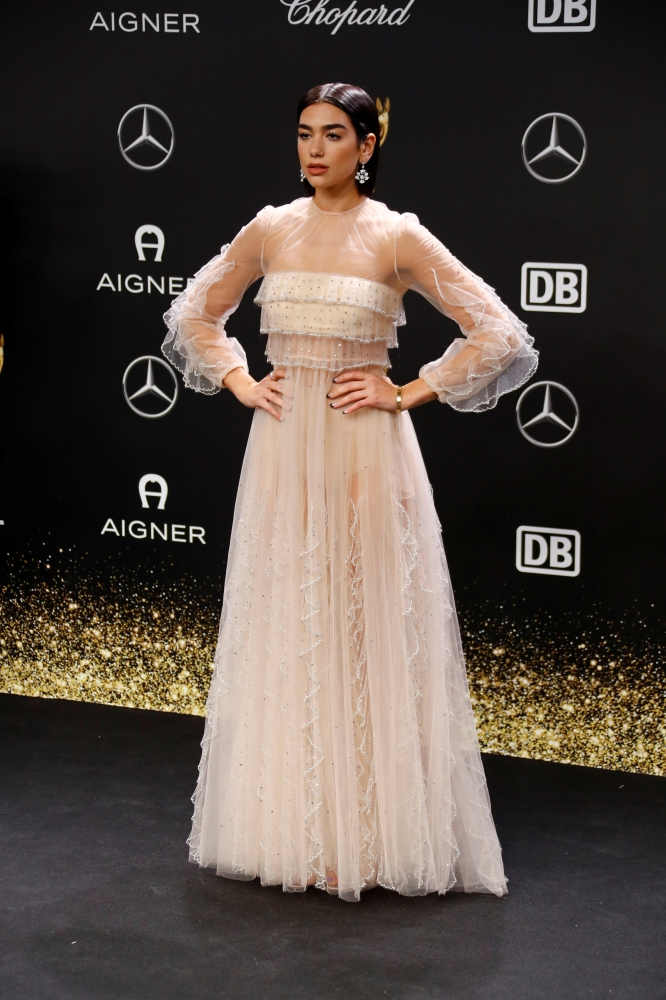 (CUTOUT) Dua Lipa poses on the red carpet before the Bambi 2018 Awards ceremony in Berlin, Germany, in this file photo — Reuters