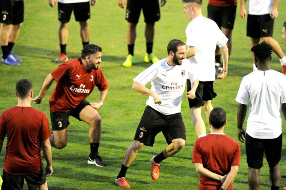 ACMilan training session in Jeddah