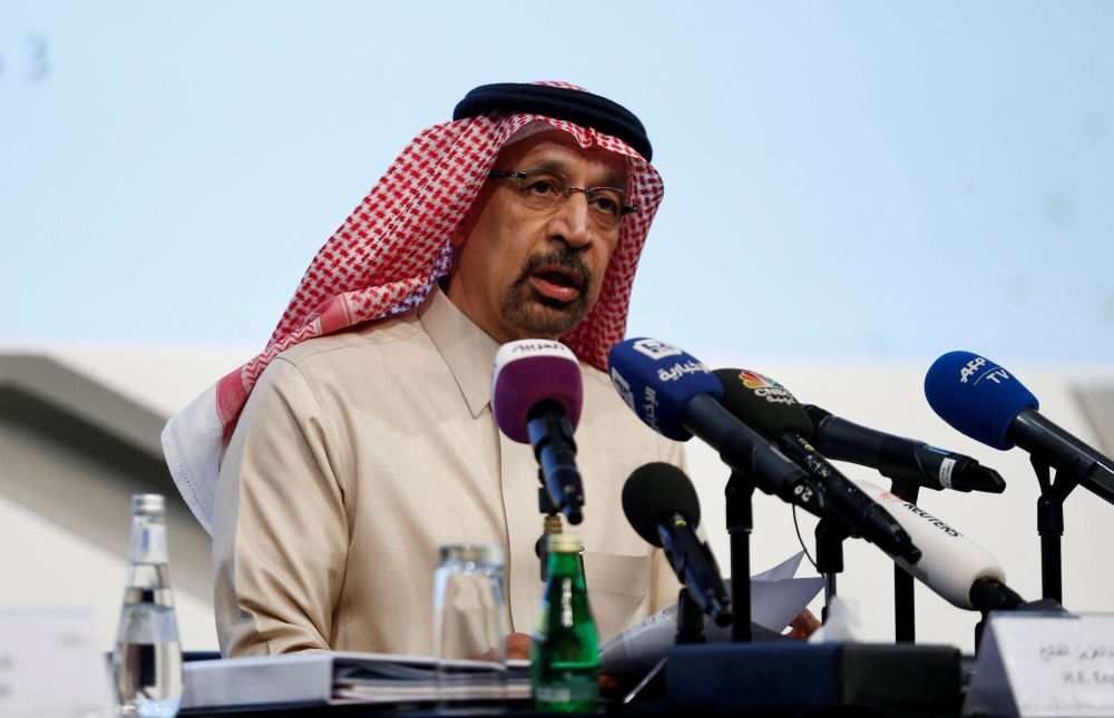 Minister of Energy, Industry and Mineral Resources Khalid Al-Falihspeaks during a news conference in Riyadh, in this recent file photo. — Reuters