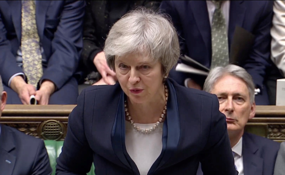 Prime Minister Theresa May addresses Parliament after the vote on May's Brexit deal in London on Tuesday. — Reuters