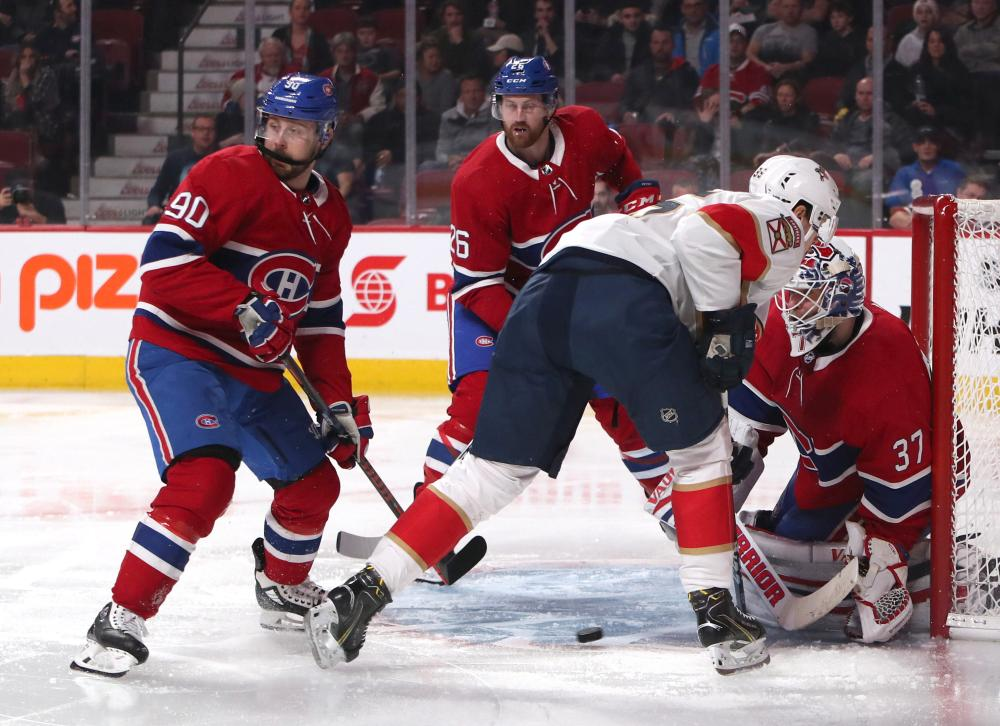 Montreal Canadiens' goaltender Antti Niemi makes a save against Florida Panthers during their NHL game at Bell Centre Tuesday. — Reuters