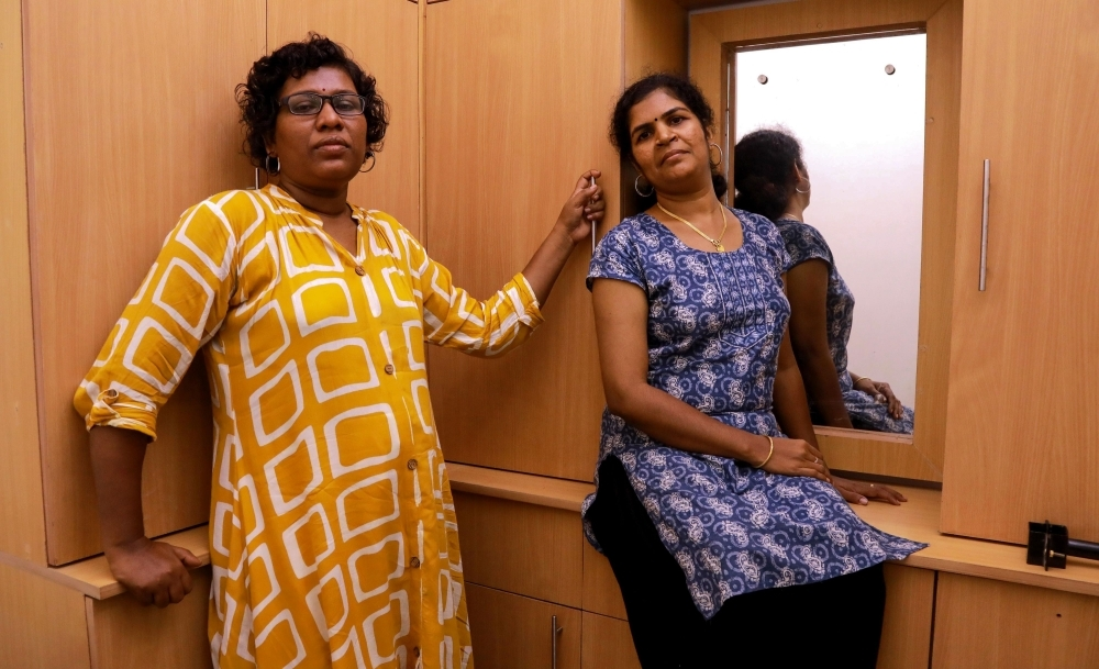 In this photo taken on Jan. 11, 2019, Bindu Ammini, left, and Kanakadurga, the two Indian women who entered the Sabarimala Ayyapa temple, pose for photographs during an interview with the media in Kochi in the southern state of Kerala. — AFP