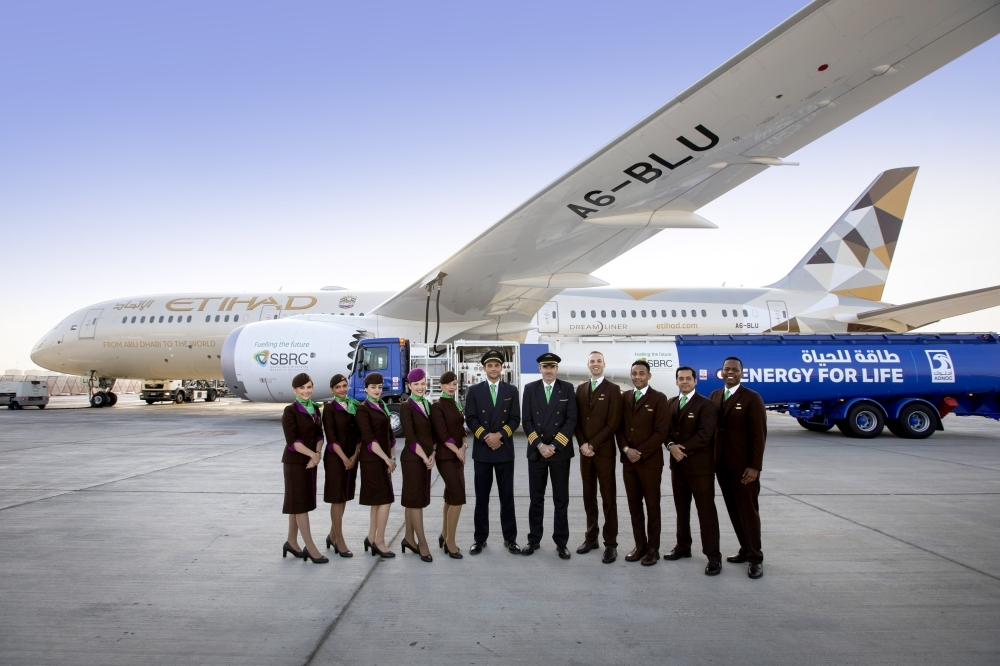 Pilots and cabin crew of Etihad Airways – the world's first biofuel flight