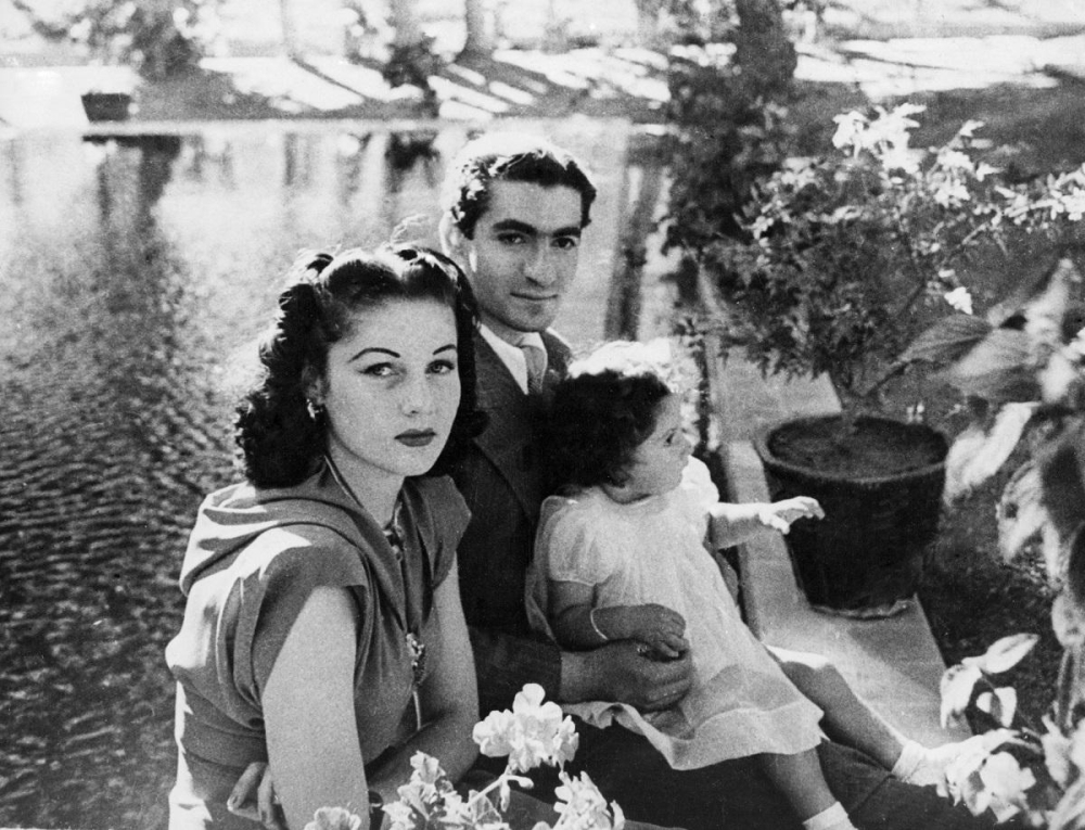 In this undated 1942 file photo, Shah of Iran Mohammad Reza Pahlavi, his wife Queen Fawzia, and Princess Shahnaz on the grounds of their palace near Tehran. — Courtesy photo