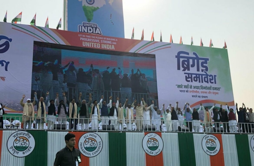 Leaders of Inida's opposition parties at a joint rally in Kolkata, Saturday. — Courtesy photo