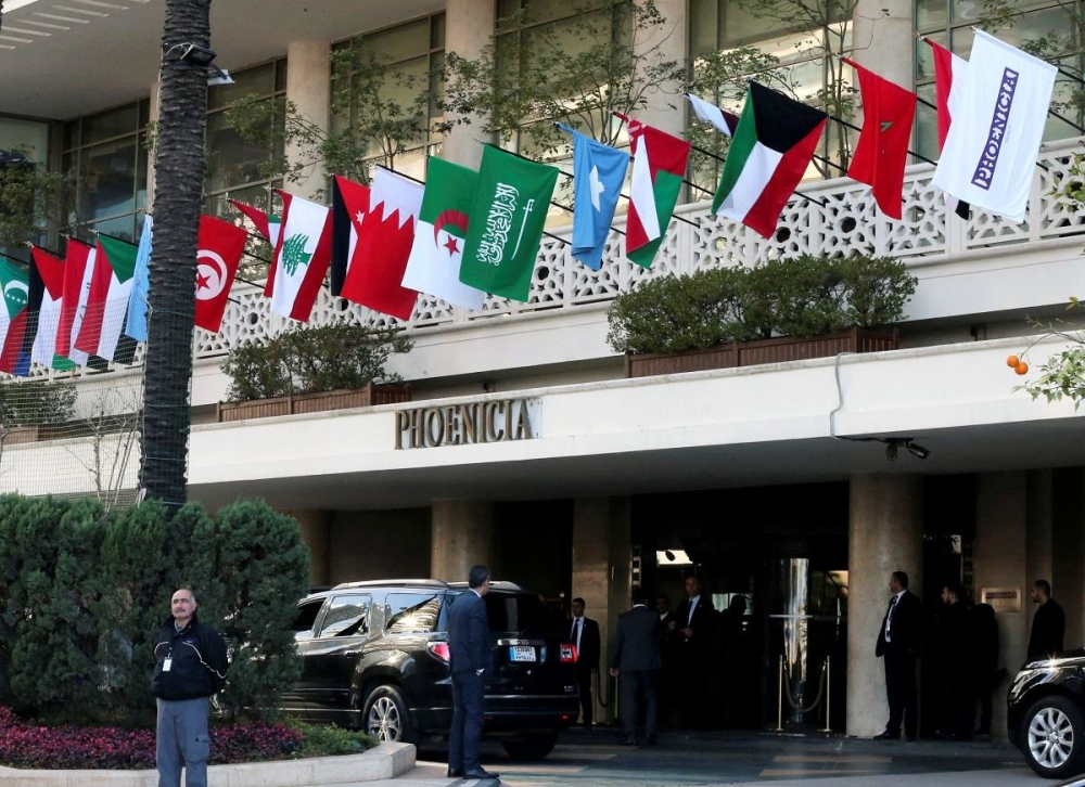 Flags of Arab League member countries on display at Beirut's Phoenicia Hotel, Lebanon on Saturday. — Reuters
