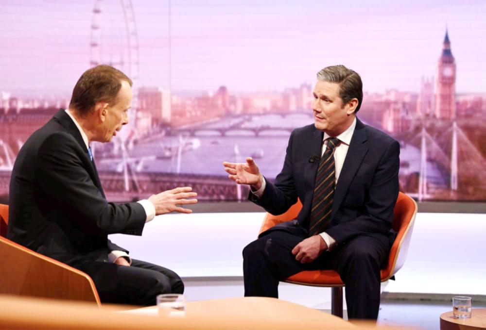 Keir Starmer, Britain's Shadow Secretary of State for Exiting the European Union, appears on BBC TV's The Andrew Marr Show in London, Sunday. — Reuters