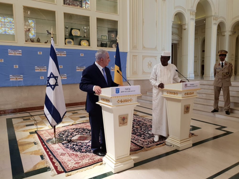 Israeli Prime Minister Benjamin Netanyahu delivers a statement together with Chad's President Idriss Deby, during their meeting in N'Djamena, Chad on Sunday. — Reuters