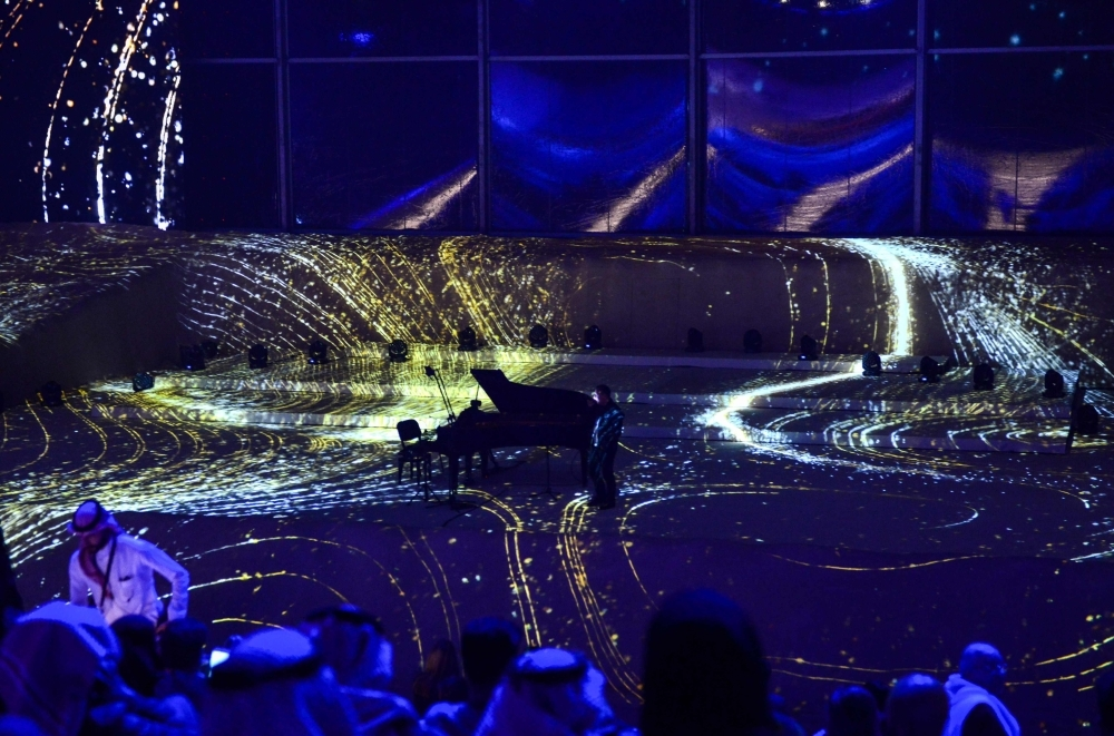 Picture shows a view of a musical performance by French solo violinist Renaud Capucon during the first