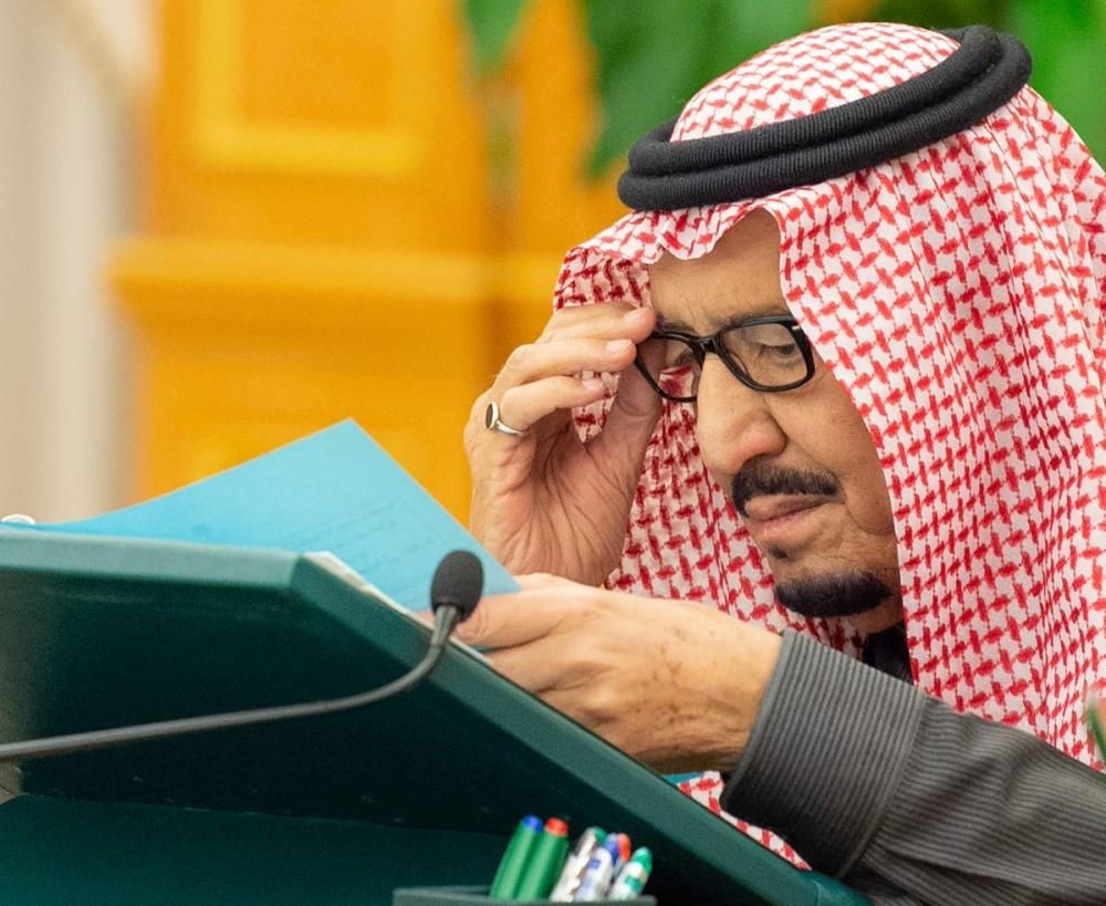 Custodian of the Two Holy Mosques King Salman chairs Council of Ministers' session at Al-Yamamah Palace in Riyadh on Tuesday. Crown Prince Muhammad Bin Salman, deputy premier and minister of defense, attends the Cabinet session. — SPA