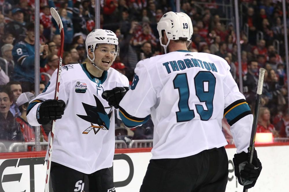 Tomas Hertl (L) of the San Jose Sharks celebrates his goal against the Washington Capitals during their NHL game at Capital One Arena in Washington Tuesday. — AFP