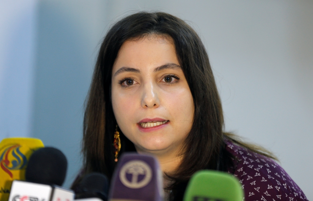 Mirella Hodeib, Spokeswoman for the International Committee of the Red Cross, addresses a news conference in Sanaa on Wednesday on the planned prisoners swap between Houthis and Yemen's internationally-recognised government. — Reuters