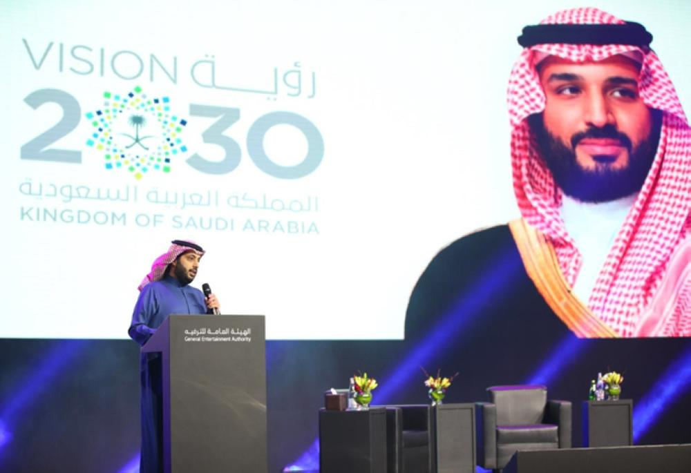 Chairman of the Board of Directors of the General Entertainment Authority Turki Al-Sheikh unveils the 2019 entertainment calendar in Riyadh on Tuesday. — SPA