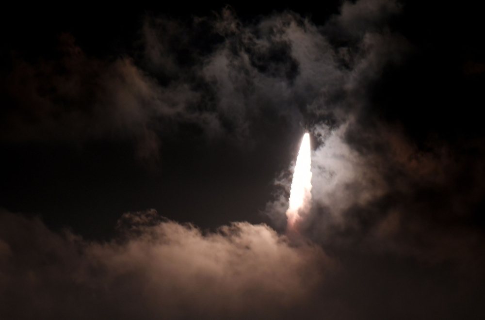 """The Indian Space Research Organisation's (ISRO), Polar Satellite Launch Vehicle (PSLV-C44) launches off onboard India's Defense Research and Development Organisation's (DRDO) imaging satellite 'Microsat R' along with student satellite """"Kalamsat"""" at Satish Dhawan Space center in Sriharikota, Andhra Pradesh state, on Thursday. — AFP"""