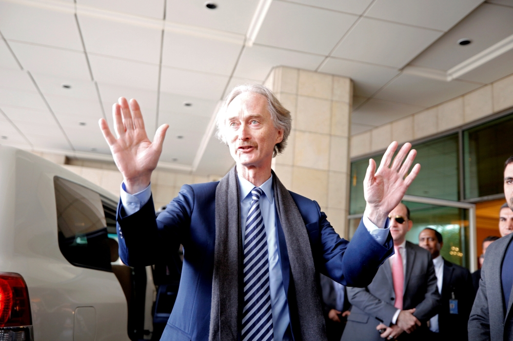 United Nations Special Envoy to Syria Geir Pedersen gestures in Damascus, Syria, in this Jan. 15, 2019 file photo. — Reuters