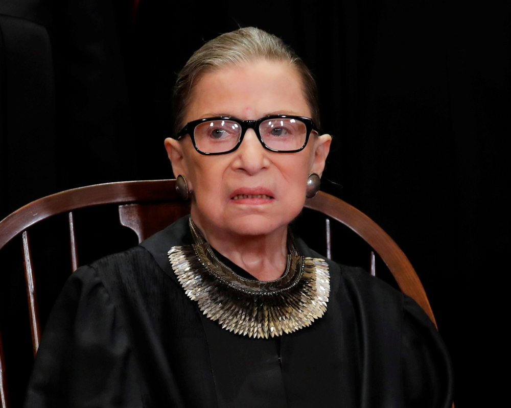 US Supreme Court Associate Justice Ruth Bader Ginsburg is seen during a group portrait session for the new full court at the Supreme Court in Washington in this Nov. 30, 2018 file photo. — Reuters